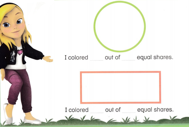 Envision Math Common Core 1st Grade Answer Key Topic 15 Equal Shares of Circles and Rectangles 27