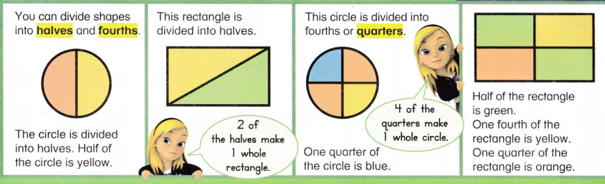 Envision Math Common Core 1st Grade Answer Key Topic 15 Equal Shares of Circles and Rectangles 28