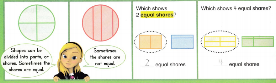 Envision Math Common Core 1st Grade Answer Key Topic 15 Equal Shares of Circles and Rectangles 9