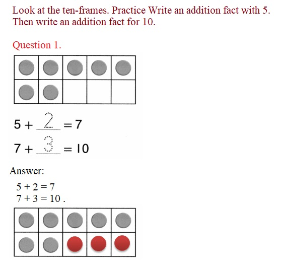 Envision-Math-Common-Core-1st-Grade-Answers-Key-Topic-2-Fluently-Add-and-Subtract-Within-10-Lesson-2.4-Facts-with-5-on-a-Ten-Frame-Guided-Practice- Question-1