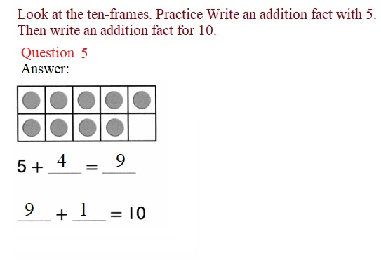 Envision-Math-Common-Core-1st-Grade-Answers-Key-Topic-2-Fluently-Add-and-Subtract-Within-10-Lesson-2.4-Facts-with-5-on-a-Ten-Frame-Independent-Practice- Question-5