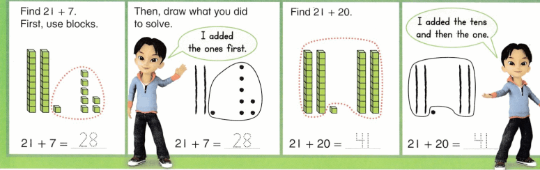 Envision Math Common Core 1st Grade Answers Topic 10 Use Models and Strategies to Add Tens and Ones 30.18