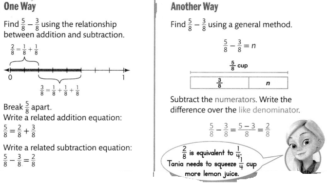 Envision Math Common Core 4th Grade Answers Topic 9 Understand Addition and Subtraction of Fractions 48