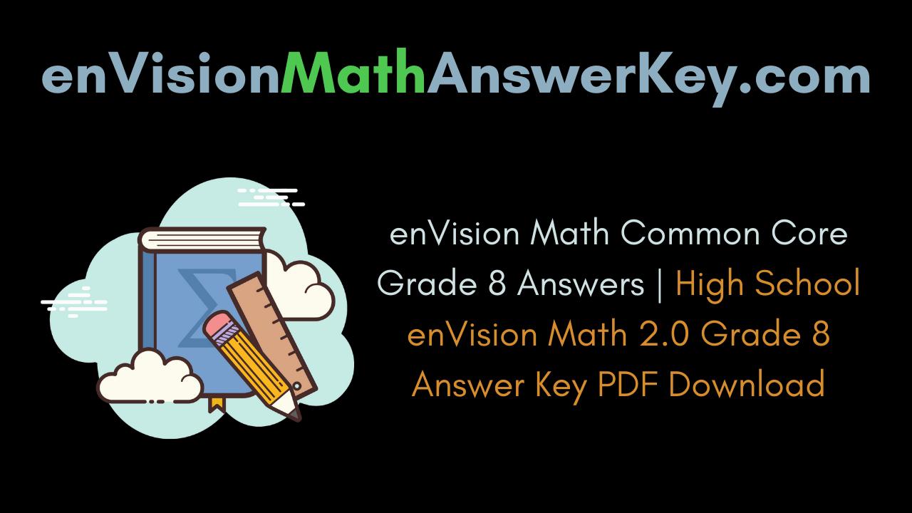 Envision math common core grade 8 answer key